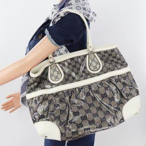✨Authentic✨PVC Leather Beige Navy Crystal Tote Bag